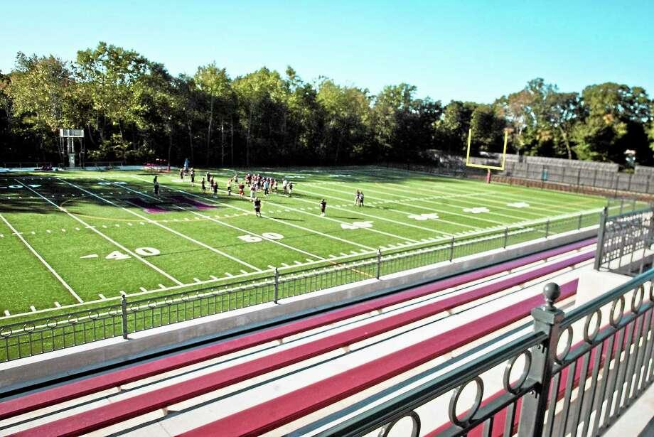 Hopkins new turf football field. Photo: Melanie Stengel — Register