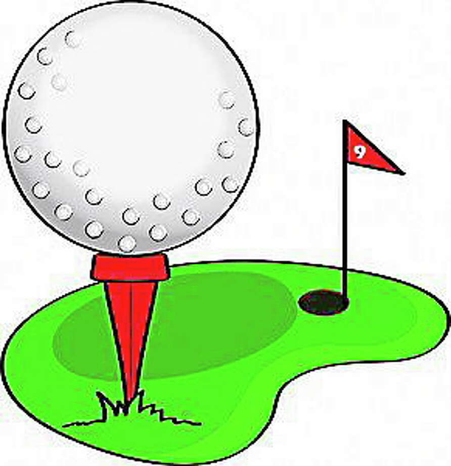 Clip art illustration of a cartoon golf ball, sitting on a tee, on a golf course. Photo: Journal Register Co. / http://www.acclaimimages.com/_gallery/_pages/0515-1002-2523-1323.html