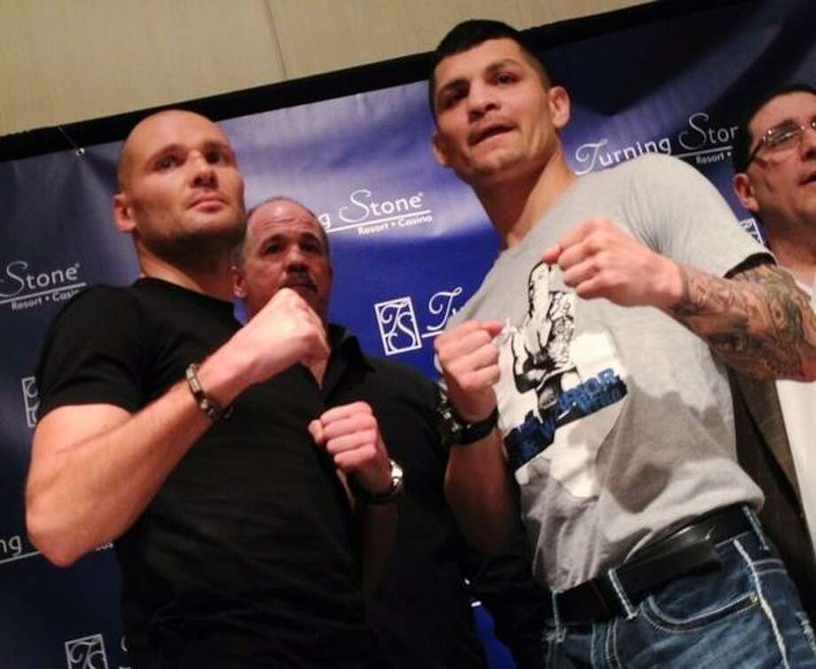 "John Haeger @OneidaPhoto on Twitter/Oneida Daily Dispatch Donatas ""Donda"" Bondorovas and Brian Vera pose after a press conference at Turning Stone Resort Casino on Thursday, March 28, 2013. Vera will defend his NABO Middleweight title,against Bondorovas in a bout scheduled for 10 rounds on Friday, March 29, 2013 at the casino in Verona. Photo: Oneida Daily Dispatch / Oneida Daily Dispatch"