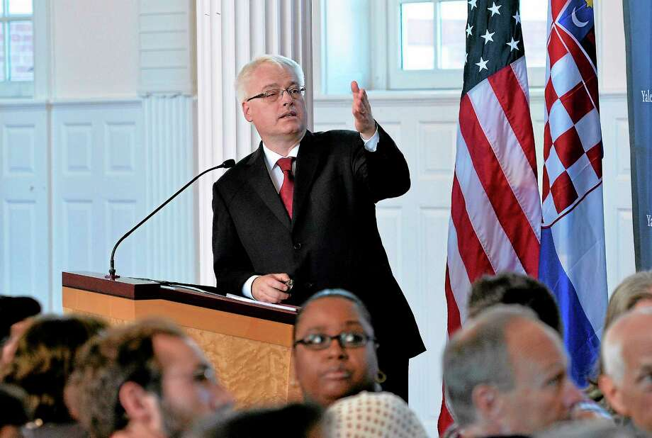 (Peter Casolino — New Haven Register) Ivo Josipovic, President of Croatia, speaks at Yale University Divinity School's Marquand Chapel Monday afternoon. 09/23/13 Photo: Journal Register Co.