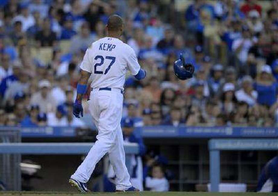 Los Angeles Dodgers' Matt Kemp throws his helmet after striking out during the sixth inning of a game against the St. Louis Cardinals, May 25, 2013, in Los Angeles. Photo: AP / AP