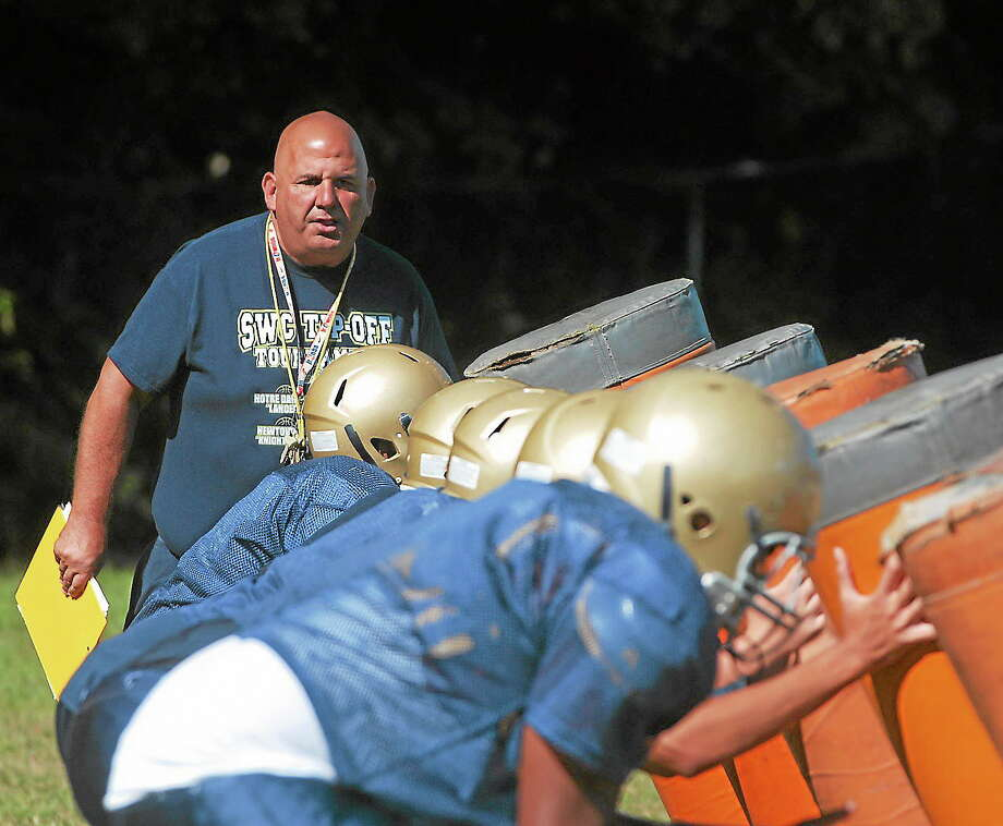 MARY ALBL — REGISTER  Milford resident and Notre Dame-Fairfield head coach Ted Boynton oversees practice last Tuesday. Photo: Journal Register Co.