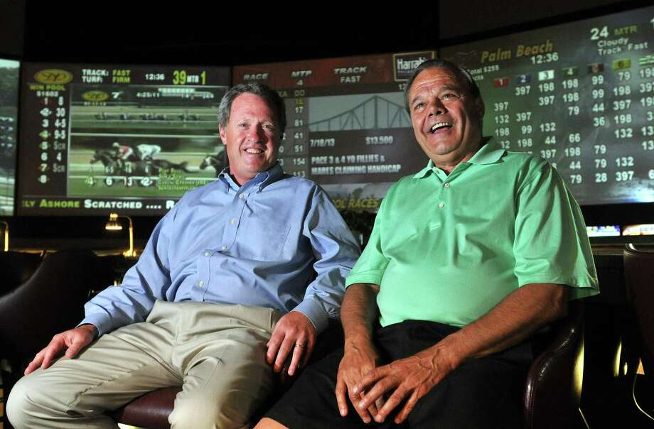 """Peter Casolino -- RegisterJohn Buckley, left and Ralph Durante are celebrating 15-years together as racehorse owners. They are shown at Sports Haven. <a href=""""mailto:pcasolino@newhavenregister.com"""">pcasolino@newhavenregister.com</a>"""