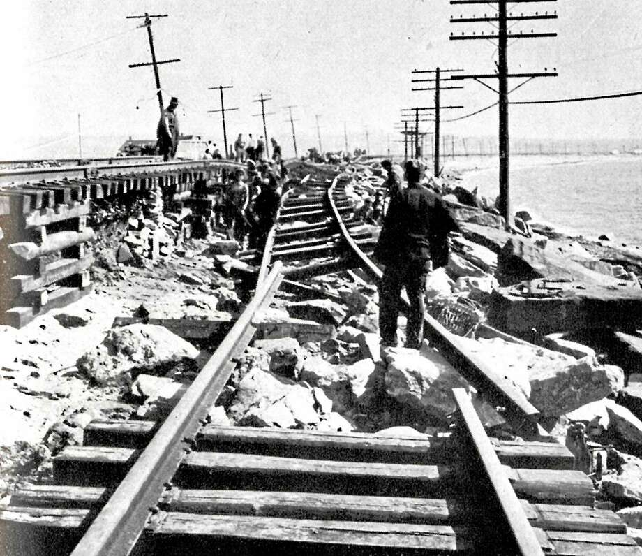 The tide tore away the railroad tracks in New Haven. Photo: Journal Register Co.