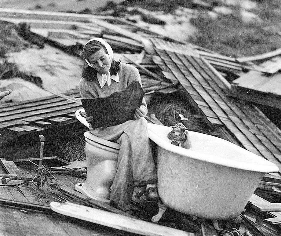 Katharine Hepburn amid the remains of her home in Old Saybrook after the Hurricane of '38. Photo courtesy of Old Saybrook Historical Society Photo: Journal Register Co.