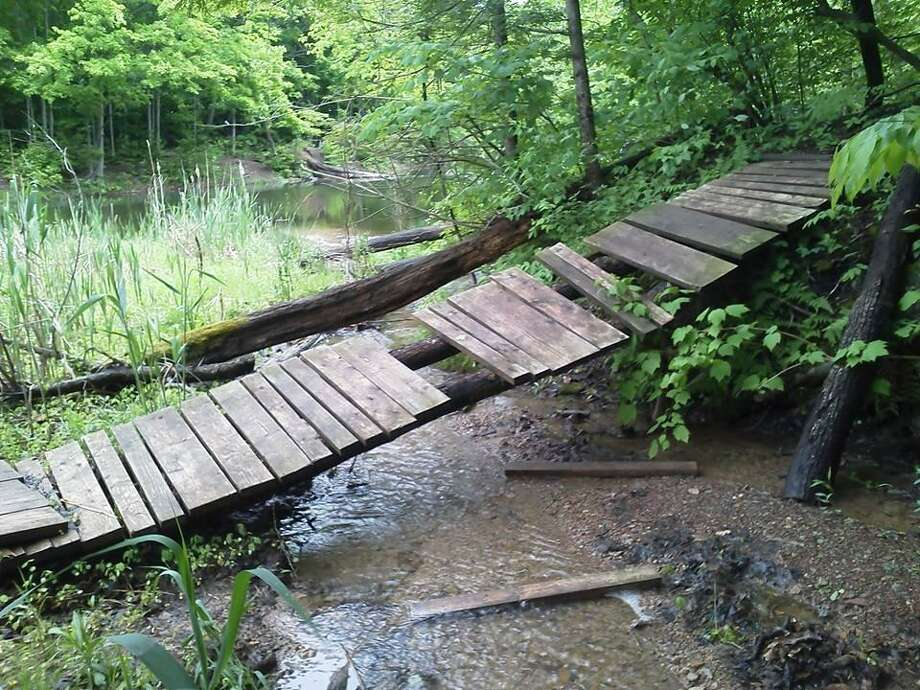 Photo Courtesy Patti Meakin The old, broken bridge at the Mount Hope Reservoir in Oneida before it was repaired.