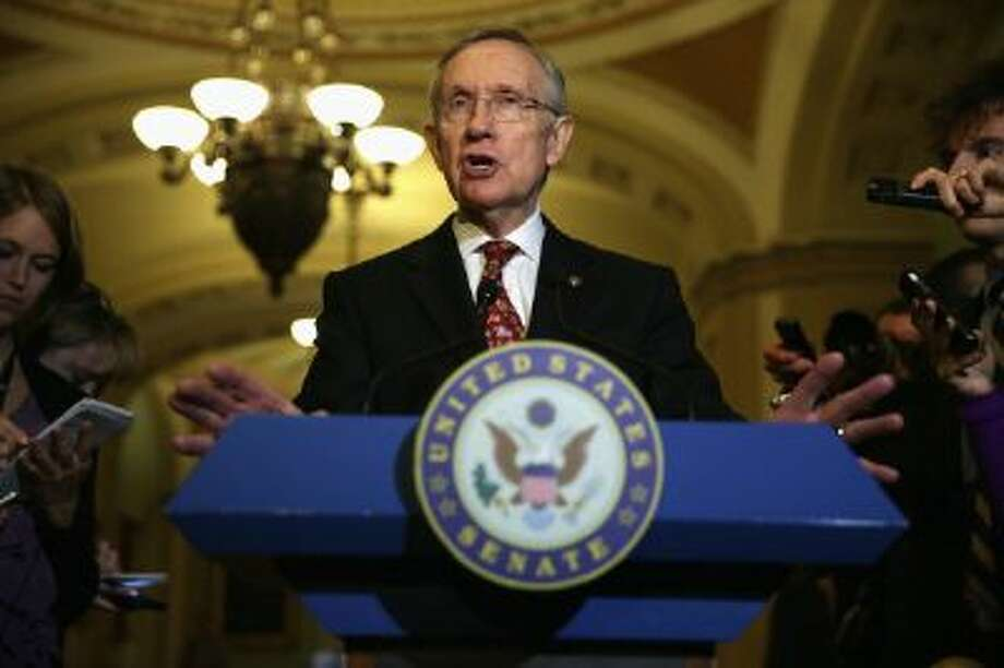 Sen. Majority Leader Harry Reid speaks to reporters in the Capitol on Nov. 19. He pushed through a historic change in how filibusters work. Photo: Getty Images / 2013 Getty Images