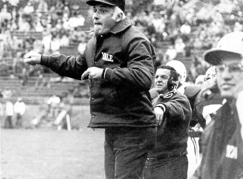 Carmen Cozza on the sideline during his coaching days at Yale. Photo: Journal Register Co.