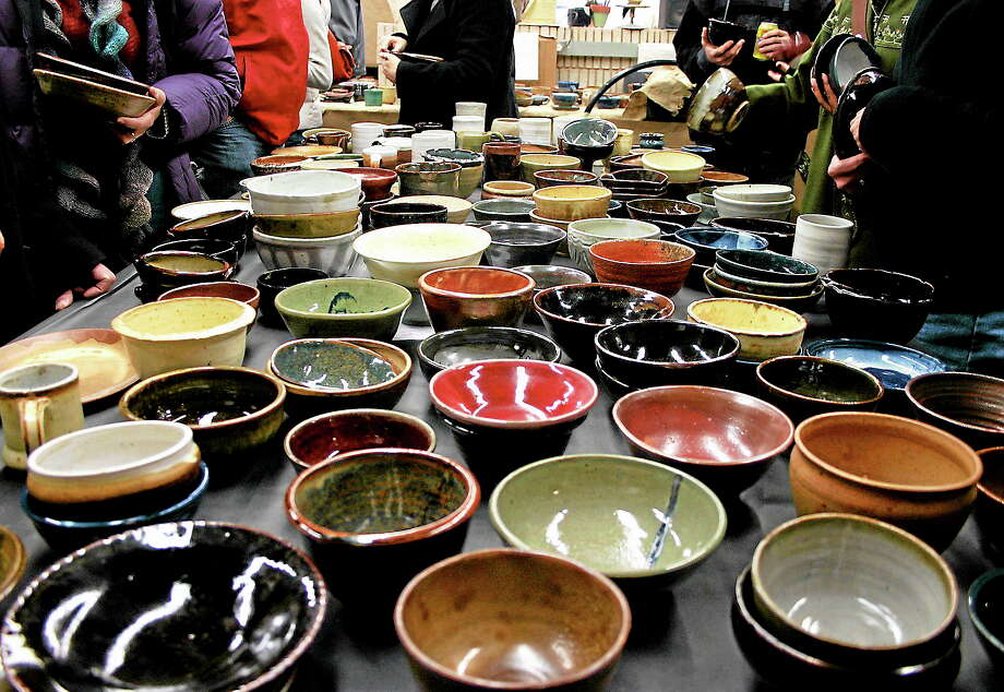 Soup will be served in CAW potters' handiwork to benefit the Community Soup Kitchen on Sunday. Photo: Creative Arts Workshop