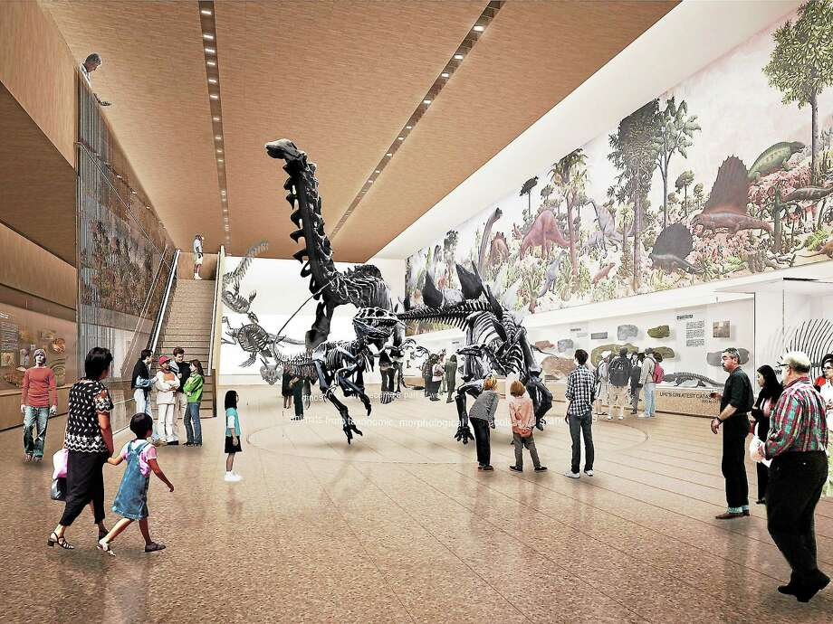 A photo illustration of what the Great Hall of Dinosaurs at Yale's Peabody Museum of Natural History will look like. Photo courtesy Yale University. Photo: Journal Register Co.