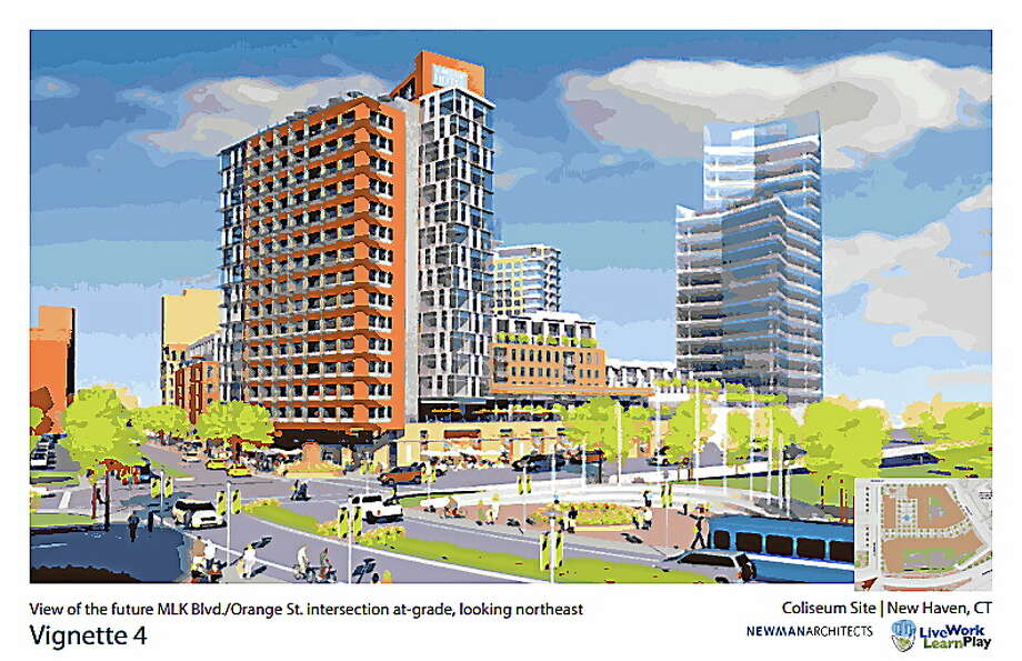 View of the future MLK Blvd./Orange St. intersection at-grade, looking northeast. Courtesy Newman Architects Photo: Journal Register Co.
