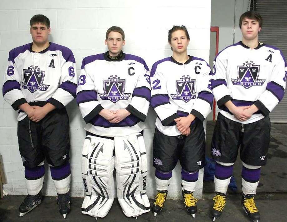 North Branford hockey captains, from left, Kris Marra, Kyle Saroka, Dylan Podbielski and Nik Castaldi. (Matthew Opie/Submitted photo)