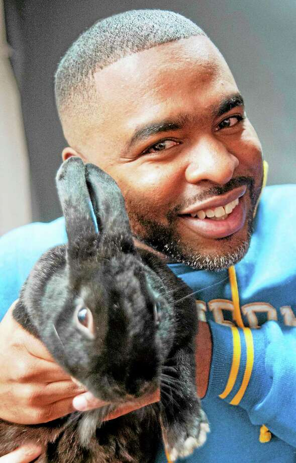 vmWilliams — New Haven RegisterShahid Abdul-Karim holds a rabbit during a video livestream with Branford Animal Shelter personnel to talk about animals they have for adoption November 20. Photo: Journal Register Co.