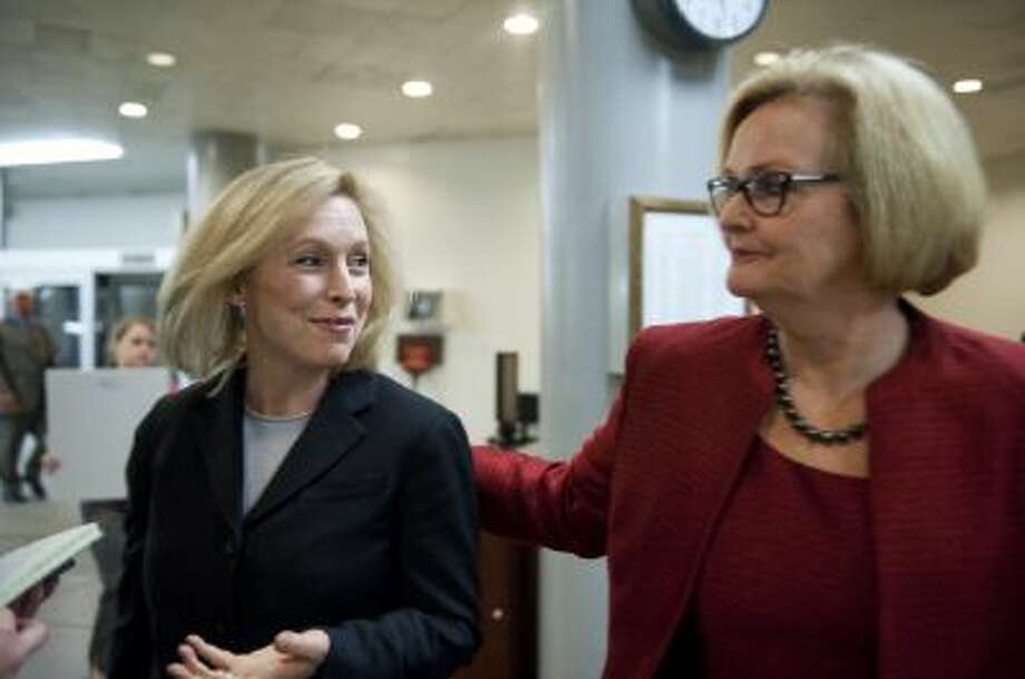 Sen. Kristen Gillibrand, D-NY., and Sen. Claire McCaskill, D-Mo., arrive at the U.S. Capitol. The two have dueling proposals for sexual assaults in the military. Photo: CQ-Roll Call,Inc. / © 2013 CQ Roll Call