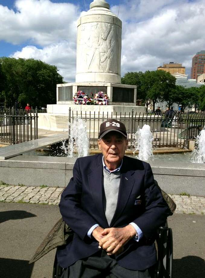 1st Lt. Herbert Small at the WW I Memorial on the New Haven Green talks about his missions over Japan during WWII.