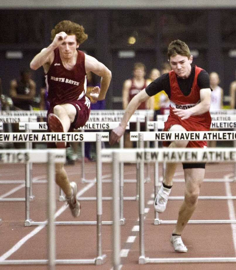 Sports Track Meet- Boys  Hurdles !st left-and 2nd.   Melanie Stengel/Register