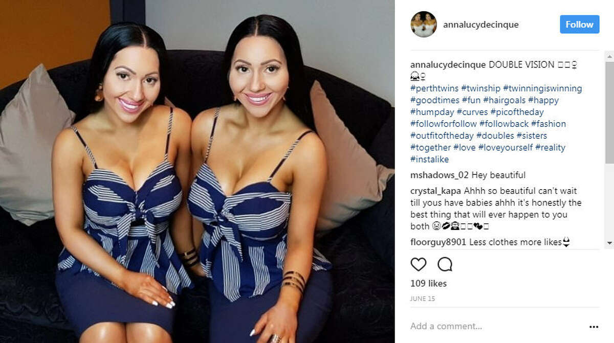 """The """"world's most identical twins"""" Lucy and Anna DiCinque have gone viral after revealing they want to become pregnant at the same time by the boyfriend they have shared for five years. >>Keep clicking to see celebrities who are twins. Photo: @annalucydecinque Instagram"""