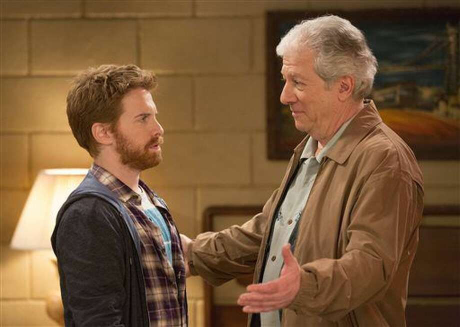 "This publicity image released by Fox shows Seth Green, left, and Peter Riegert in a scene from ""Dads,"" premiering Tuesday, Sept. 17 at 8 p.m. EST. (AP Photo/Fox, Jennifer Clasen) (Jennifer Clasen)"