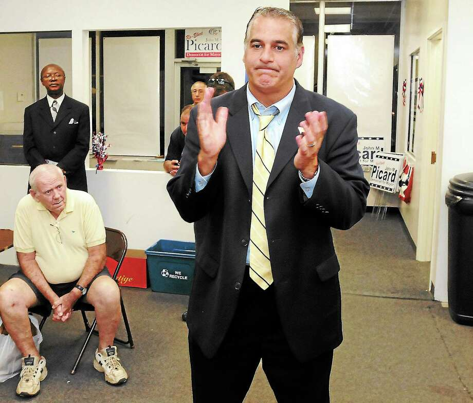 (Photo by Mara Lavitt — New Haven Register) West Haven Mayor John Picard speaks to supporters after the polls closed Sept. 10. Photo: Journal Register Co.
