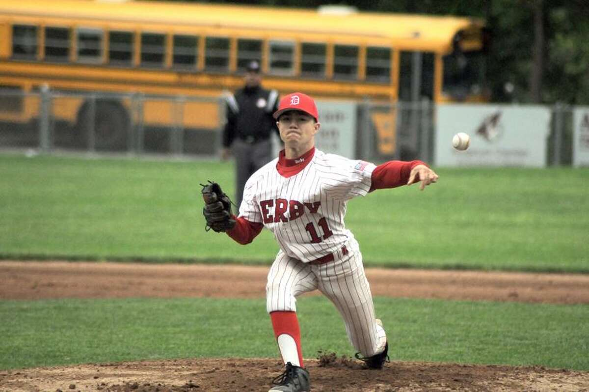 Derby pitcher Sal Frosceno. (Sean Meenaghan/Register Citizen)