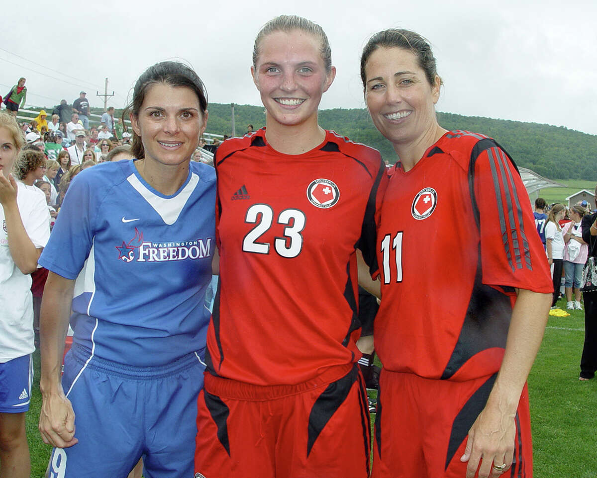 Mia Hamm, from left, Kylee Litchfield, Julie Foudy during the Soccer Hall of Fame Game in Oneonta, N.Y., 2007.Litchfield was a soccer star at Saint Rose and captain of the Adirondack Lynx soccer team. SEE THE BLOG POST HERE.READ THE STORY HERE.