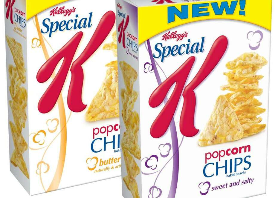 Just in time for the return of prime time TV and evening snacking, Kellogg's(R) introduces the new Special K(R) Popcorn Chips! With two varieties - Butter and Sweet & Salty - Special K Popcorn Chips provide irresistible taste and a satisfying crunch for 120 calories per serving of 28 chips.  (PRNewsFoto/Kellogg Company) Photo: PR NEWSWIRE
