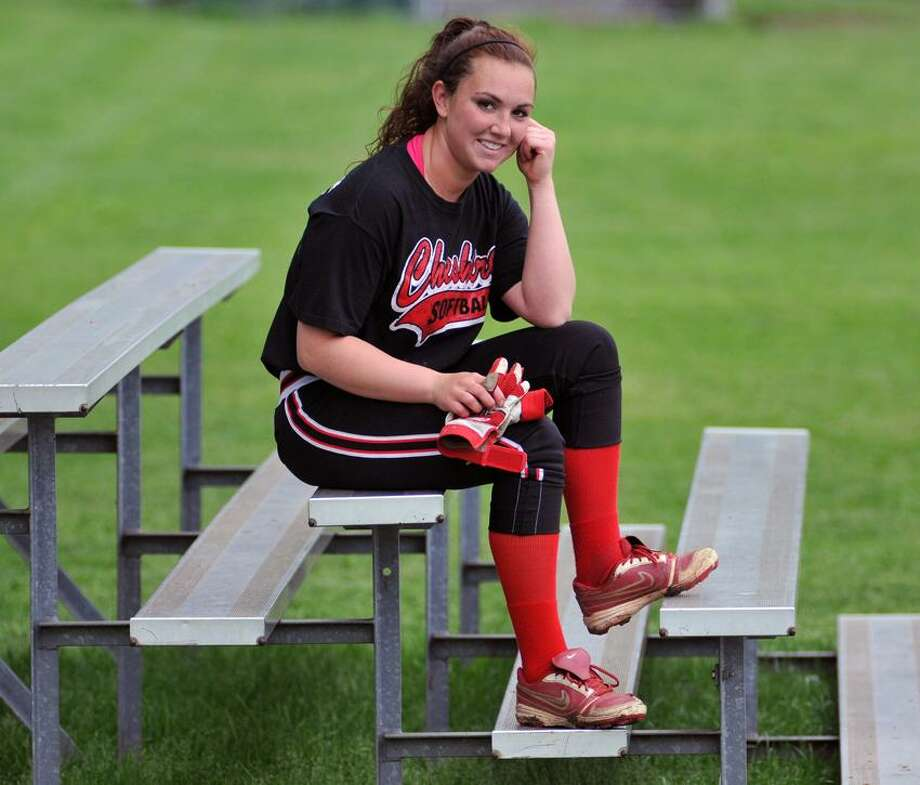 """West Haven--Cheshire Softball Pitcher Nicole D'Amato for team of the week feature.  Photo-Peter Casolino/Register <a href=""""mailto:pcasolino@newhavenregister.com"""">pcasolino@newhavenregister.com</a>"""