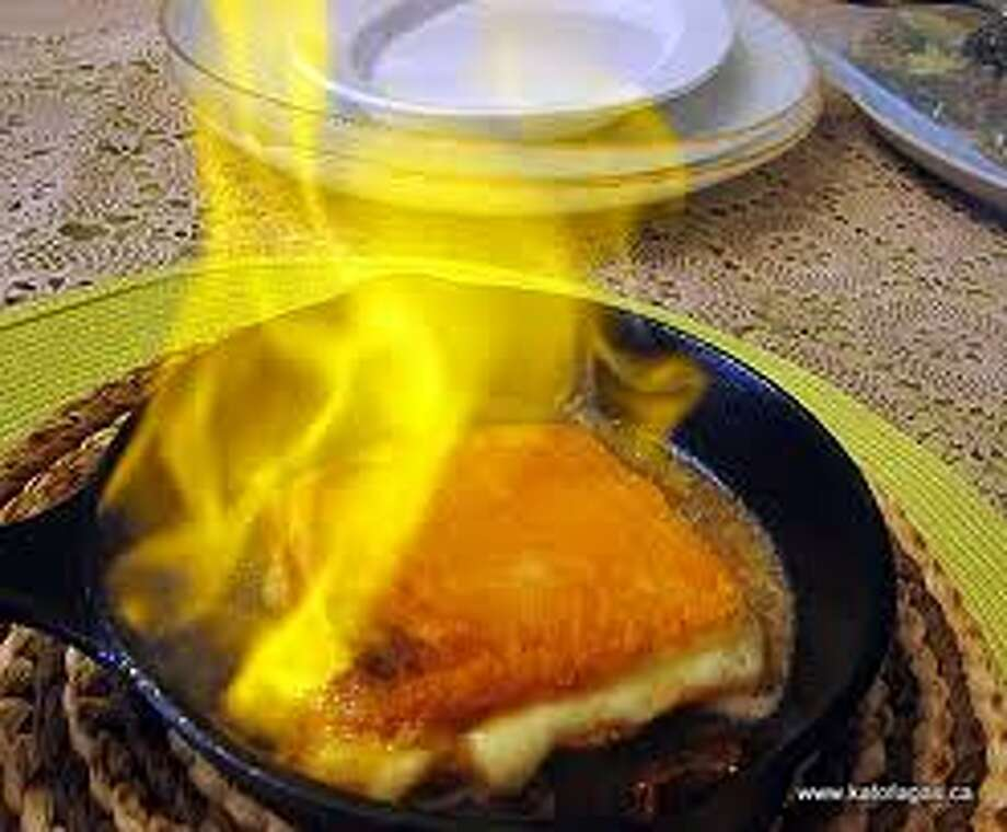 Flaming cheese