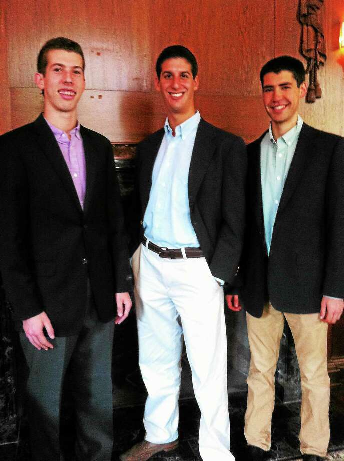 "Online editor David Steiner, left, co-editor Justin Schuster and co-editor Eric Wasserman Stern helped produce ""Diplomatic Discourse,"" a series of interviews with U.S. diplomats published by the Yale undergraduate magazine The Politic. Photo: Journal Register Co."