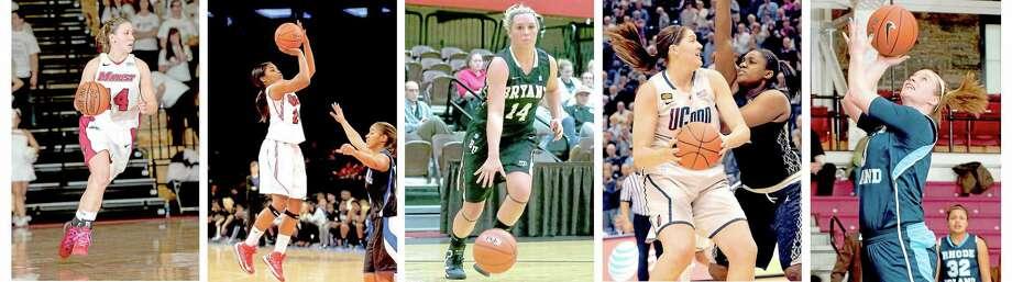 From left, Casey Dulin, Keylantra Langley, Courtney Schissler, Lauren Okafor (defending) and Kerry Wallack. Photo: THE ASSOCIATED PRESS PHOTOS