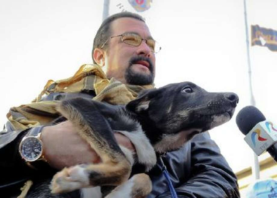 A picture taken on Sunday, Nov. 17, 2013 shows U.S. actor Steven Seagal holding Grivei, a stray dog he adopted from the Dogtown dog shelter in Uzunu, south of Bucharest, Romania.