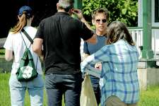 """Ben Stiller, second from right, scouts locations in Malone, N.Y., for """"Escape at Dannemora,"""" a Showtime series he's directing based on the 2015 Clinton Correctional Facility jail break where convicted killers David Sweat and Richard Matt led police on a weeks-long hunt. (Jason Cerone/Special to the Times Union)"""