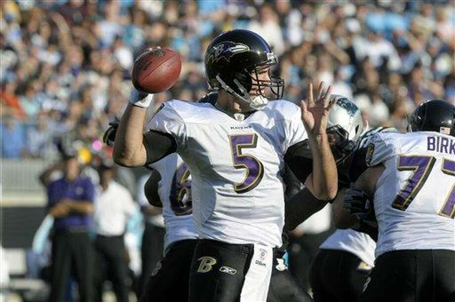Baltimore Ravens' Joe Flacco (5) throws a pass during an NFL football game against the Carolina Panthers in Charlotte, N.C., Sunday, Nov. 21, 2010. (AP Photo/Mike McCarn) Photo: ASSOCIATED PRESS / FR34342 AP