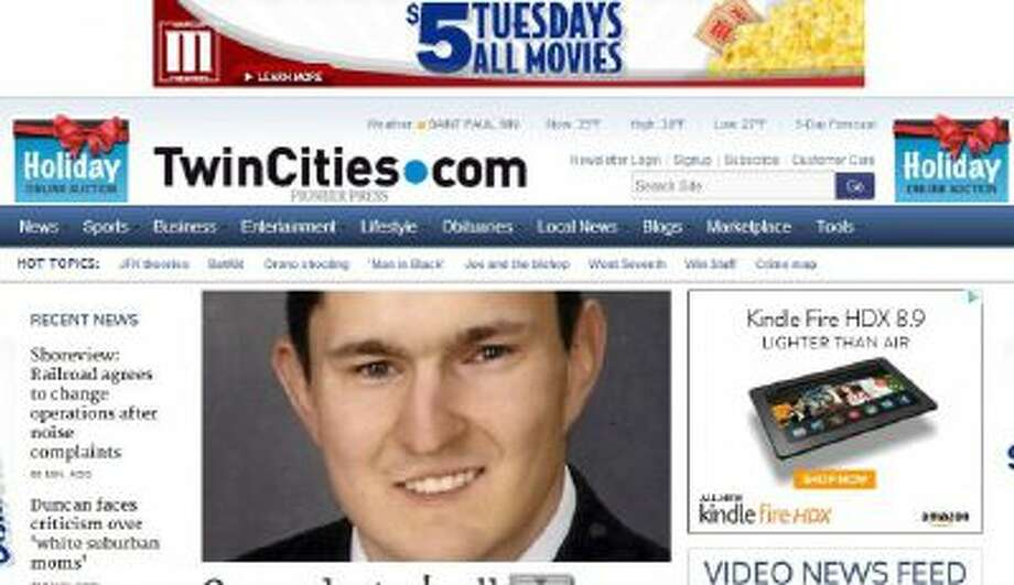 A screenshot of the Pioneer Press home page.