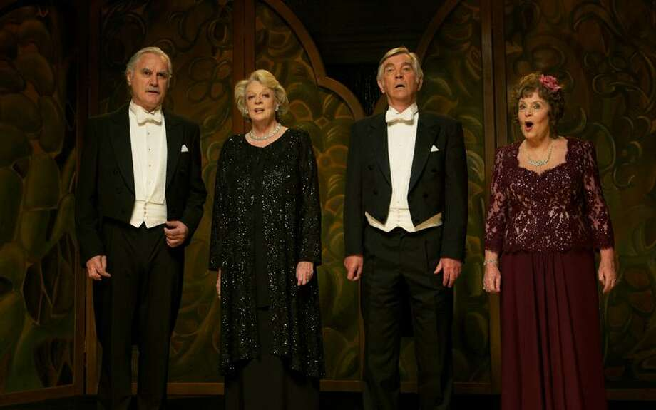 "Kerry Brown/The Weinstein Company photo: Dustin Hoffman directs Billy Connolly, left, Maggie Smith, Tom Courtenay and Pauline Collins in ""Quartet."" Photo: AP / The Weinstein Company"