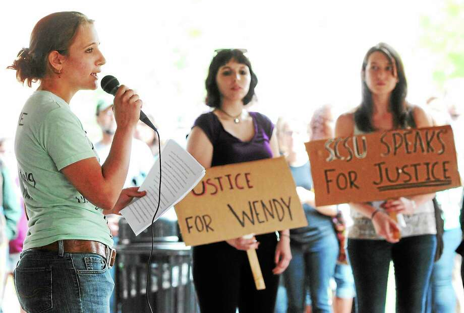 (Photo by Peter Hvizdak — Register)Wendy Wyler, speaks during a protest on her behalf at Southern Connecticut State University Tuesday, September 10, 2013 , about her sexual misconduct lawsuit against SCSU music professor David Chevan and decrying the lack of strong action by the SCSU administration towards sexual misconduct by staff at the university. Photo: New Haven Register / ©Peter Hvizdak /  New Haven Register