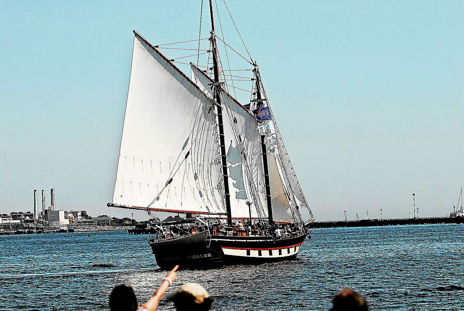 The Mystic Whaler, a reproduction of a late 19th-century coastal cargo schooner, attracts attention. Photo: Journal Register Co. / Copyright 2009 Tom Bombria