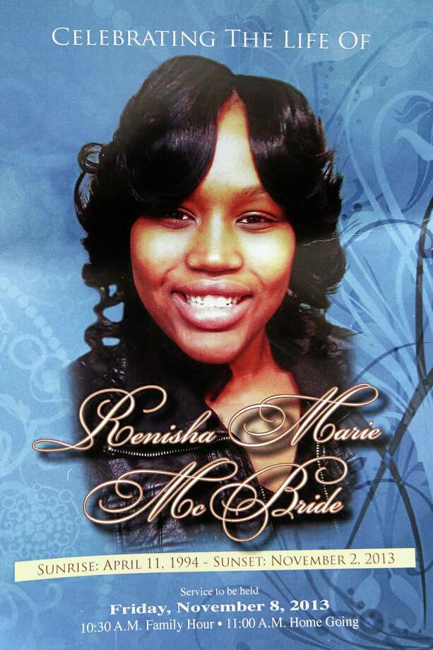 In this Nov. 8, 2013 file photo is the front cover of a funeral program for 19-year-old Renisha McBride from a service at House of Prayer & Praise Cathedral in Detroit. Prosecutors announced Thursday, Nov. 14, 2013 that they have scheduled a news conference Friday in Detroit to announce whether they'll charge a suburban Detroit homeowner in the shooting death of McBride.  (AP Photo/Detroit Free Press, Brian Kaufman)  DETROIT NEWS OUT;  NO SALES; Photo: AP / Detroit Free Press