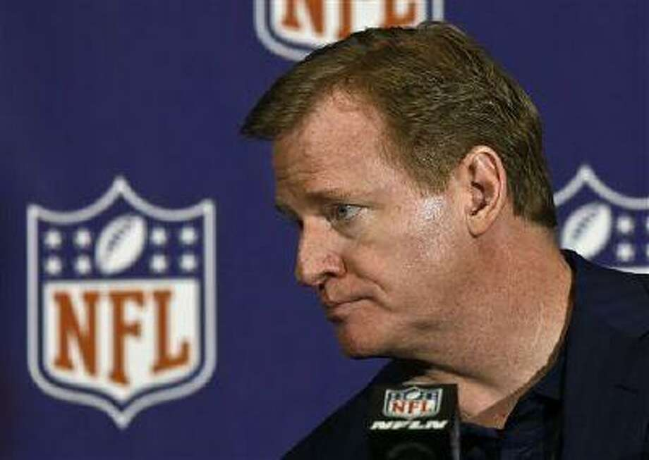 NFL Commissioner RogerGoodell listens to a reporter's question during a news conference at the annual NFL football meetings at the Arizona Biltmore, March 20, 2013, in Phoenix. Photo: AP / AP