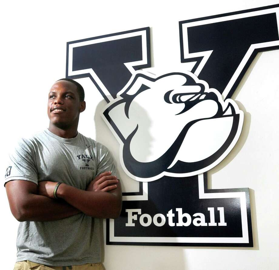 Peter Hvizdak Ñ RegisterYale University freshman football player Victor Egu Friday July 12, 2013 at the Ray Tompkins House at Yale. Photo: New Haven Register / ©Peter Hvizdak /  New Haven Register