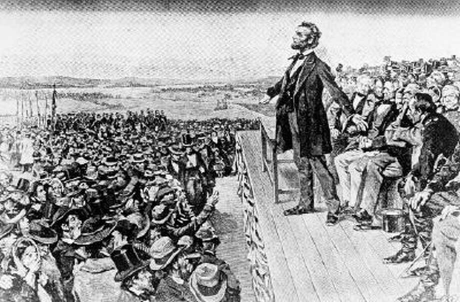 This undated illustration depicts President Abraham Lincoln making his Gettysburg Address at the dedication of the Gettysburg National Cemetery on the battlefield at Gettysburg, Pa., Nov. 19, 1863.