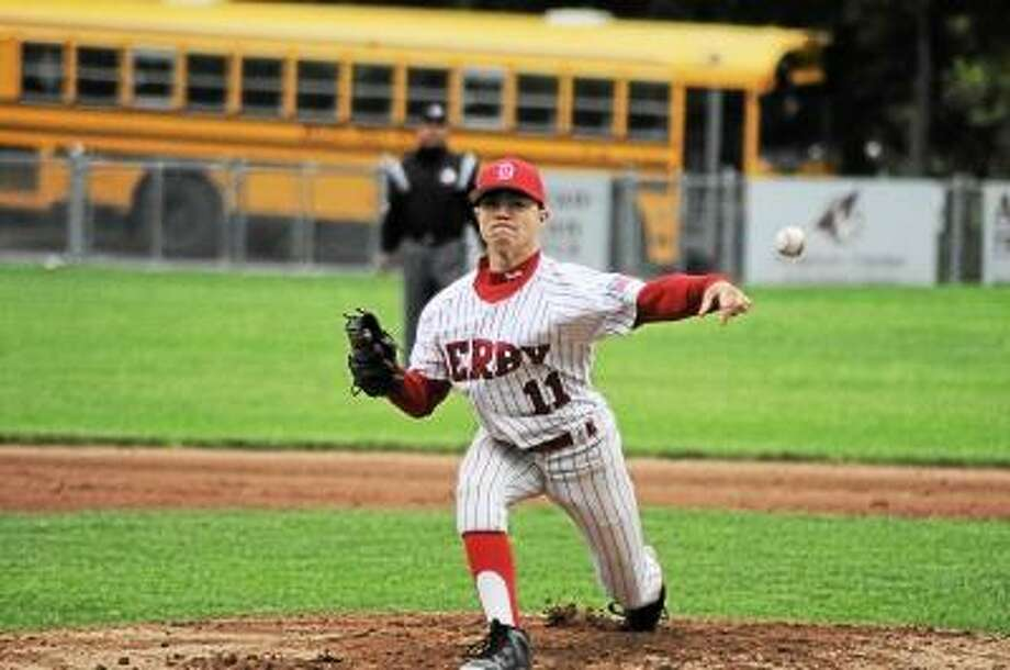 Derby's Sal Frosceno throws a pitch in the first inning against Wolcott in the NVL Championship final. Photo by Sean Meenaghan/Register Citizen