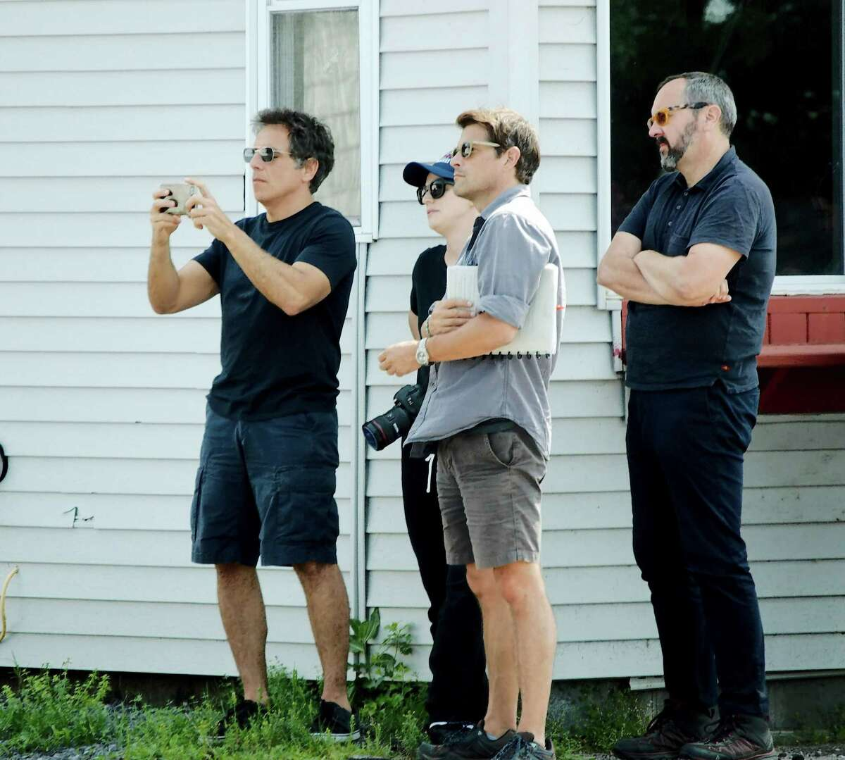 Ben Stiller, left, scouts locations in Malone, N.Y., for