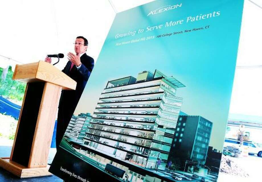 Gov. Dannel P. Malloy speaks June 17 at a groundbreaking for the future Alexion Pharmaceuticals global headquarters on the closed off section of the Rt. 34 connector in New Haven. Arnold Gold/New Haven Register