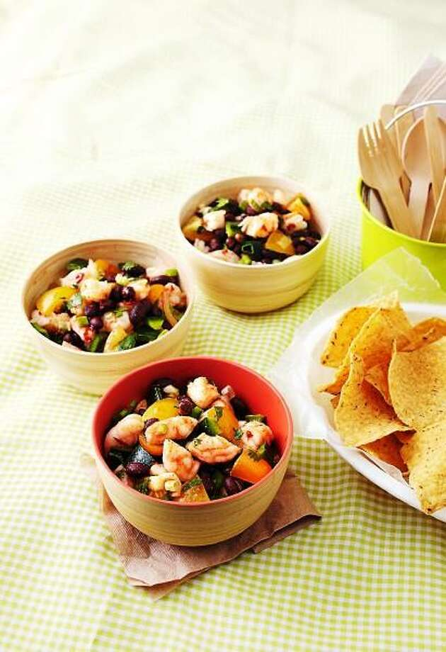 Bryan McCay/EatingWell photo: Shrimp and Black Bean Salad Photo: Bryan McCay /EatingWell / Reuse Rights Limited. Contact Meredith Corporation for more information.