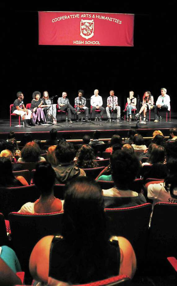 (Photo by Peter Hvizdak — Register)Playwrights, journalists and writers who won Yale's Windham Campbell Literary Prizes have a panel discussion hosted by the New Haven Cooperative Arts and Humanities High School Wednesday, September 11, 2013 Photo: New Haven Register / ©Peter Hvizdak /  New Haven Register