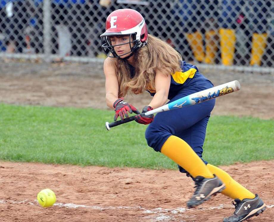 Mercy's Tiffany Mangiameli lays down a bunt against Amity during the sixth inning of Mercy's win in the SCC tournament semifinals.