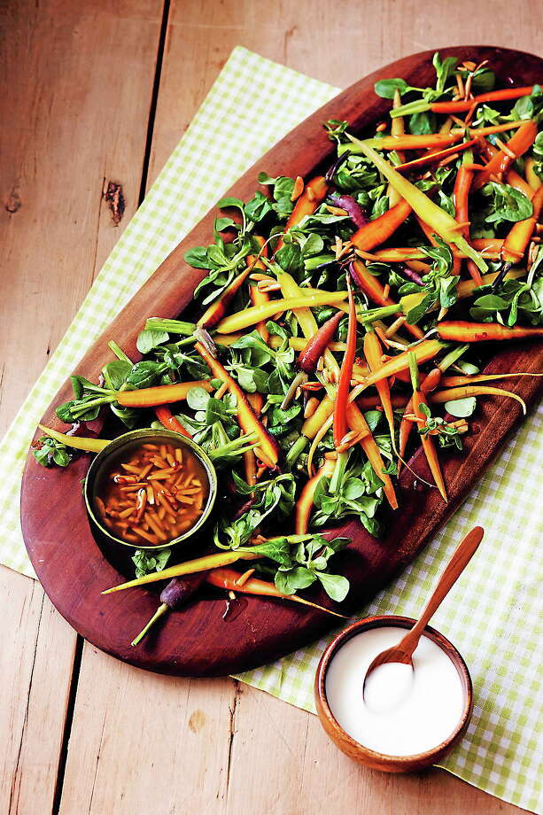 """""""Moveable Feast with Fine Cooking"""" host Pete Evans with Baby Carrot Salad Photo: Photo — Scott Phillips; Food Styling — Ronne Day"""