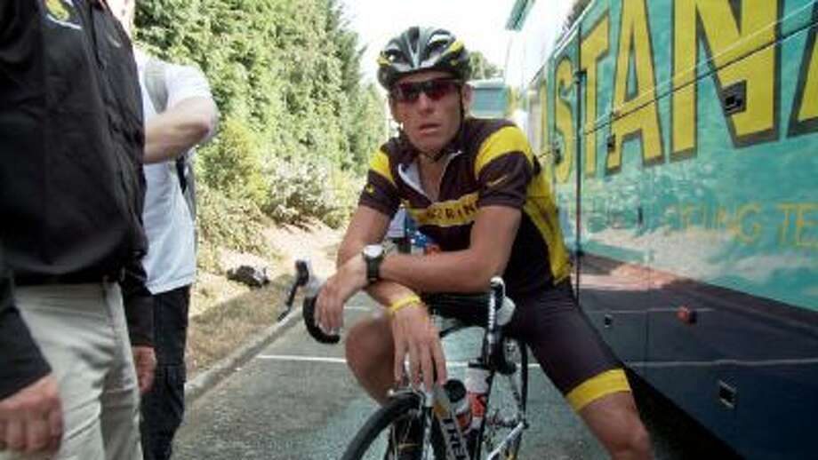 "This photo released by courtesy of Sony Pictures Classics shows Lance Armstrong in the documentary film, ""?The Armstrong Lie."""