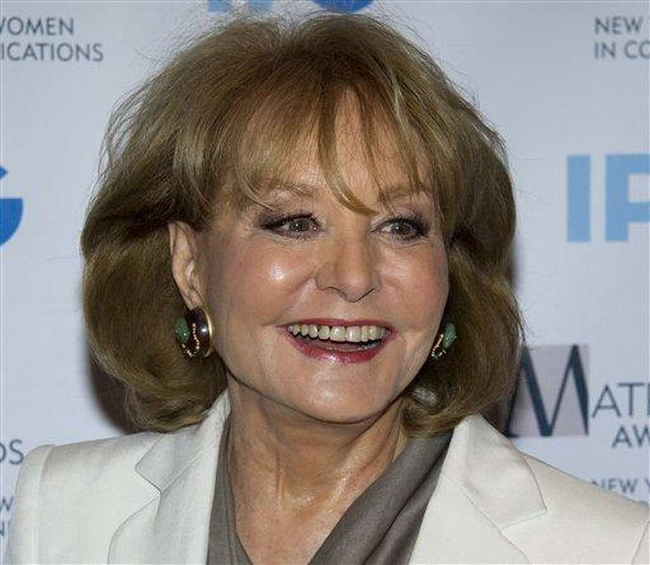 In this Monday, April 23, 2012 photo, veteran ABC newswoman Barbara Walters arrives to the Matrix Awards in New York. Walters has fallen at an inauguration party in Washington and has been hospitalized, according to an ABC News spokesman, Sunday, Jan. 20, 2013. (AP Photo/Charles Sykes) Photo: ASSOCIATED PRESS / A2012